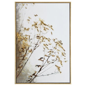 Foil-Embellished Framed Branches Printed Canvas