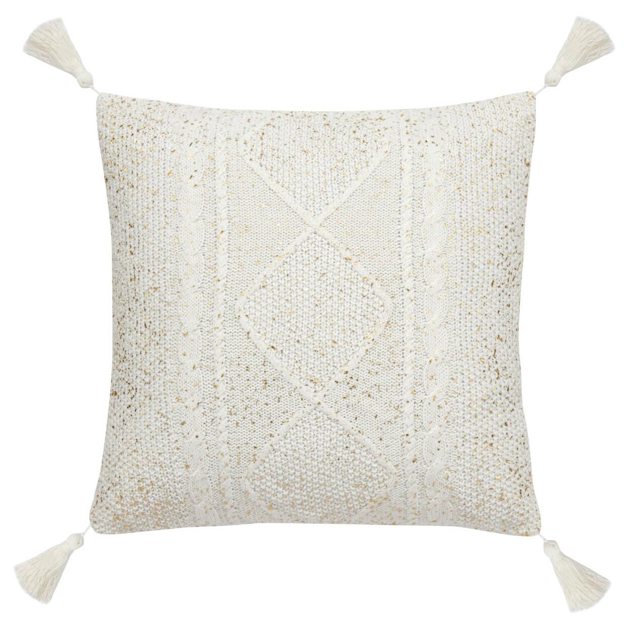 """Coussin décoratif en tricot Boho avec embellissements métalliques 18"""" X 18"""""""