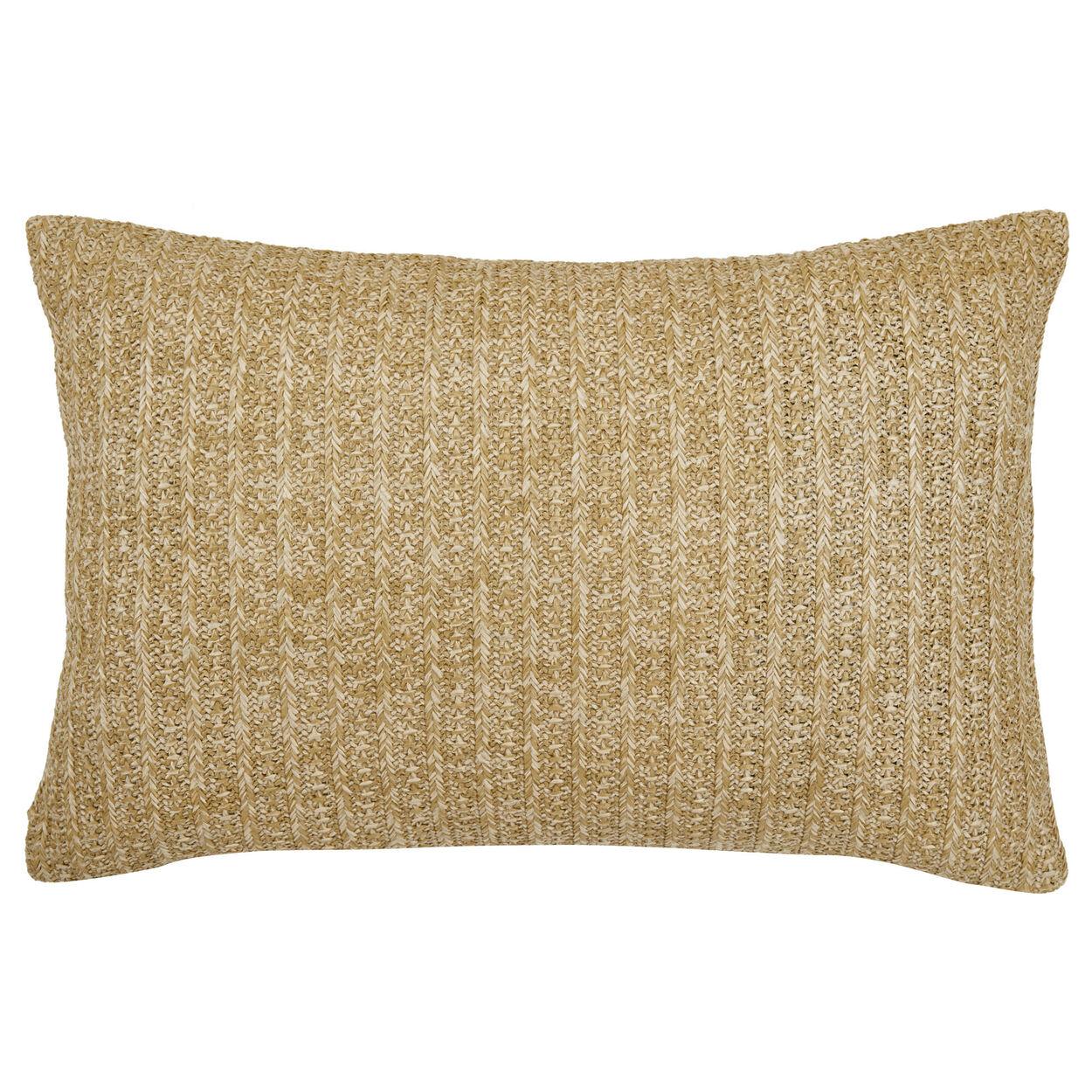 "Straw Water-Repellent Decorative Lumbar Pillow 15"" X 24"""