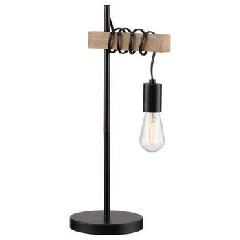 Lampe de table en bois et en métal