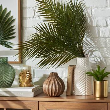 Carved Brown Wood Bud Vase