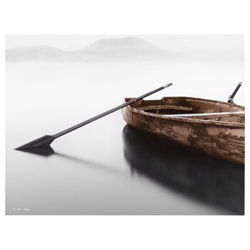 Solitary Boat Printed Canvas