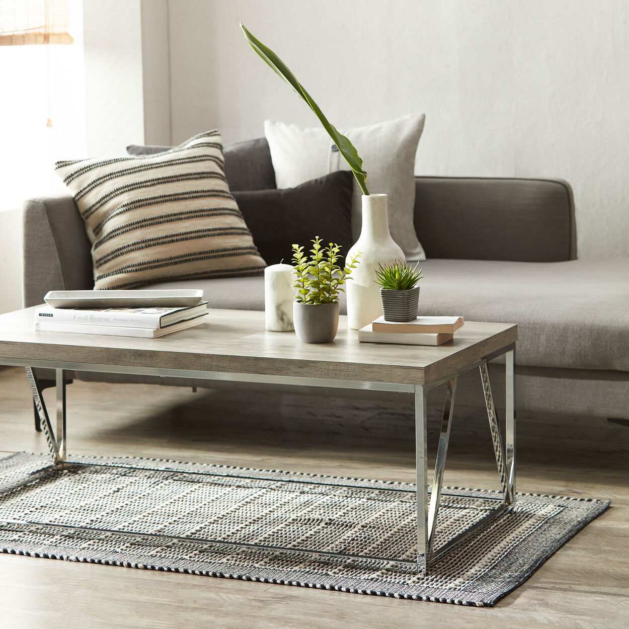 Laminated Wood and Chrome Coffee Table