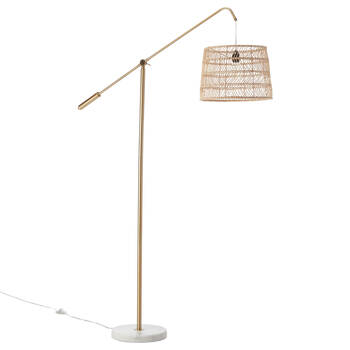 Lampe sur pied dorée avec base en marbre
