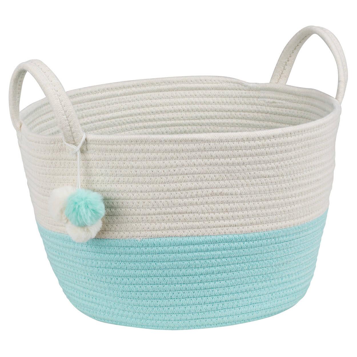 Two-Toned Storage Basket with Pom-Poms