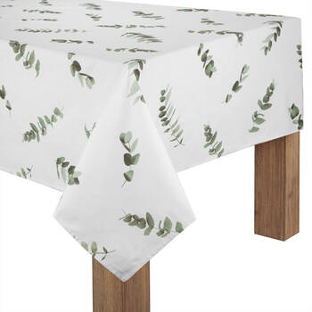 Eucalyptus Printed White Tablecloth