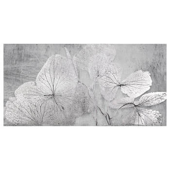 Silver Leaves Printed Canvas