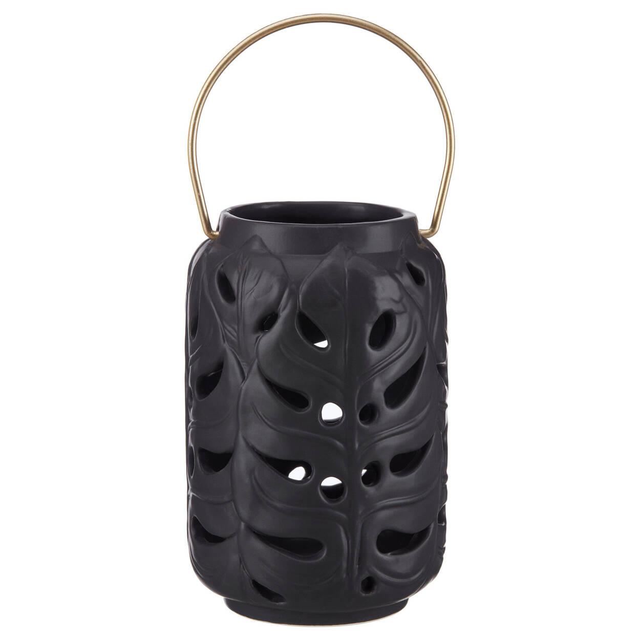 Porte-chandelle lanterne en dolomite noire