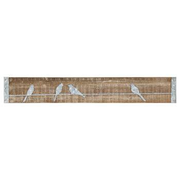 Metal Birds on Wood Plaque II