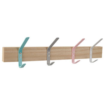 Set of 4 Multicolored Hooks on Wood Plaque