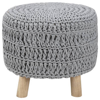 Wood and Cotton Knitted Ottoman