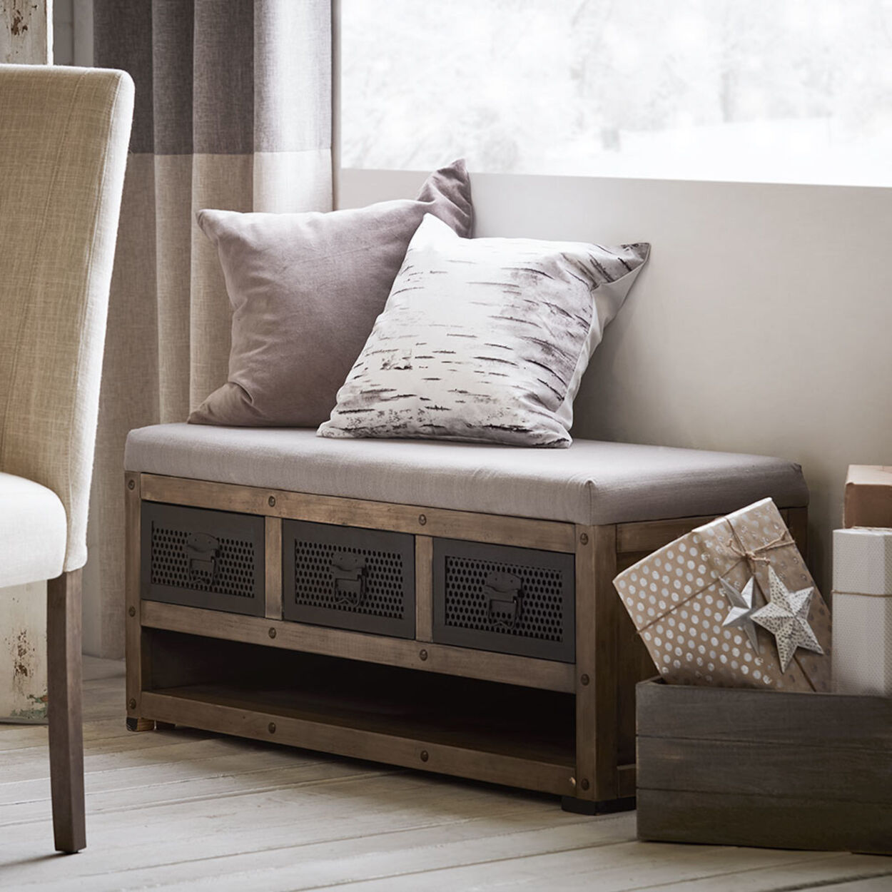 Rustic Wood and Fabric Storage Bench