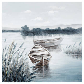Oil-Painted Stranded Boats Canvas