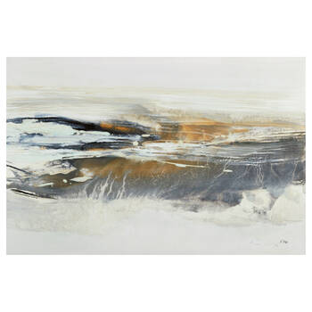Abstract Graphite Horizon Printed Canvas with Gel Embellishments