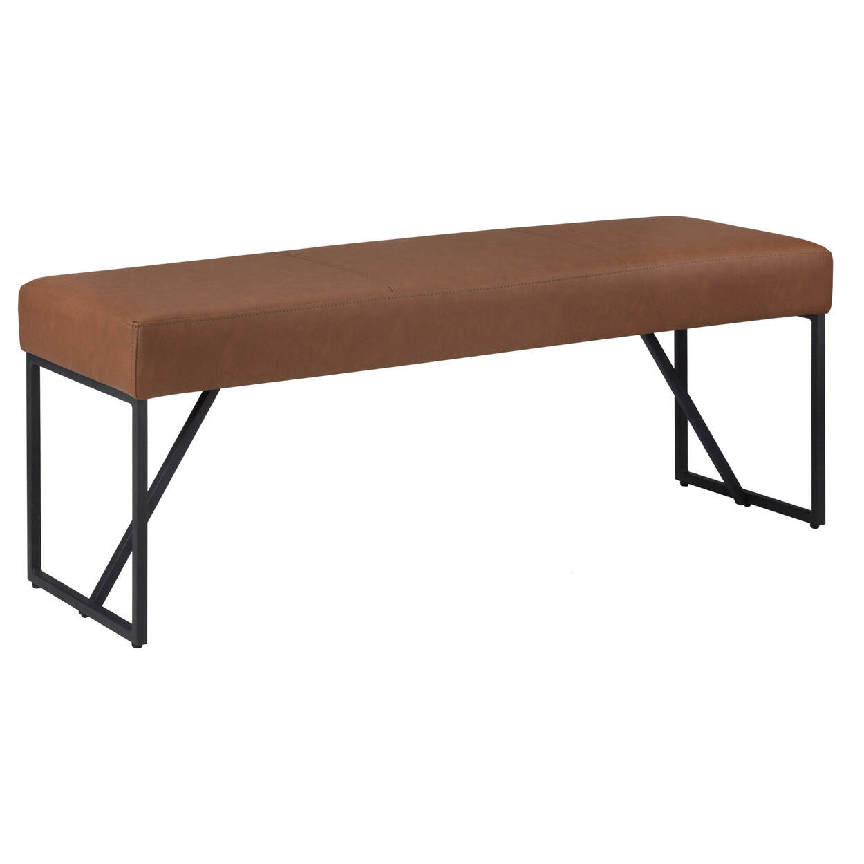 Faux Leather and Metal Bench