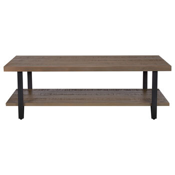 Pine Wood and Metal Coffee Table