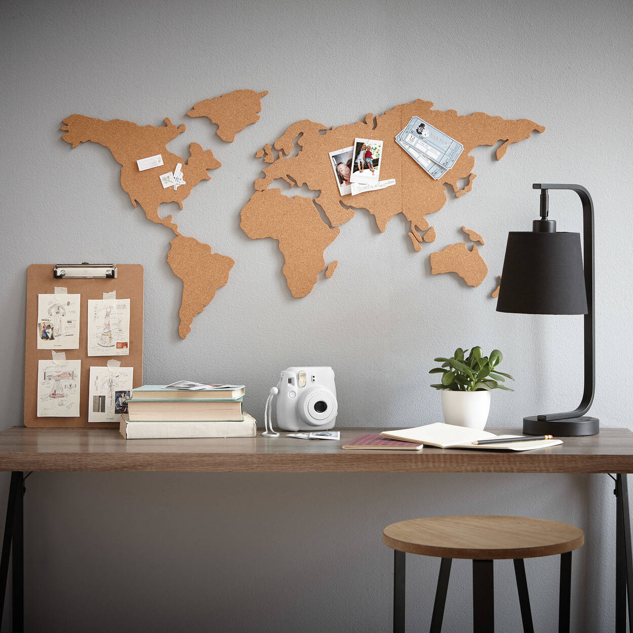 Cork world map wall sticker bouclair cork world map wall sticker gumiabroncs Image collections