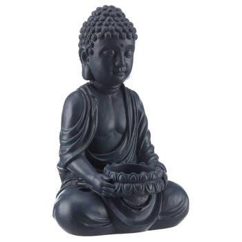Black Cement Buddha Candle Holder