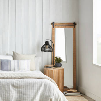 Natural Barn Door Style Mirror