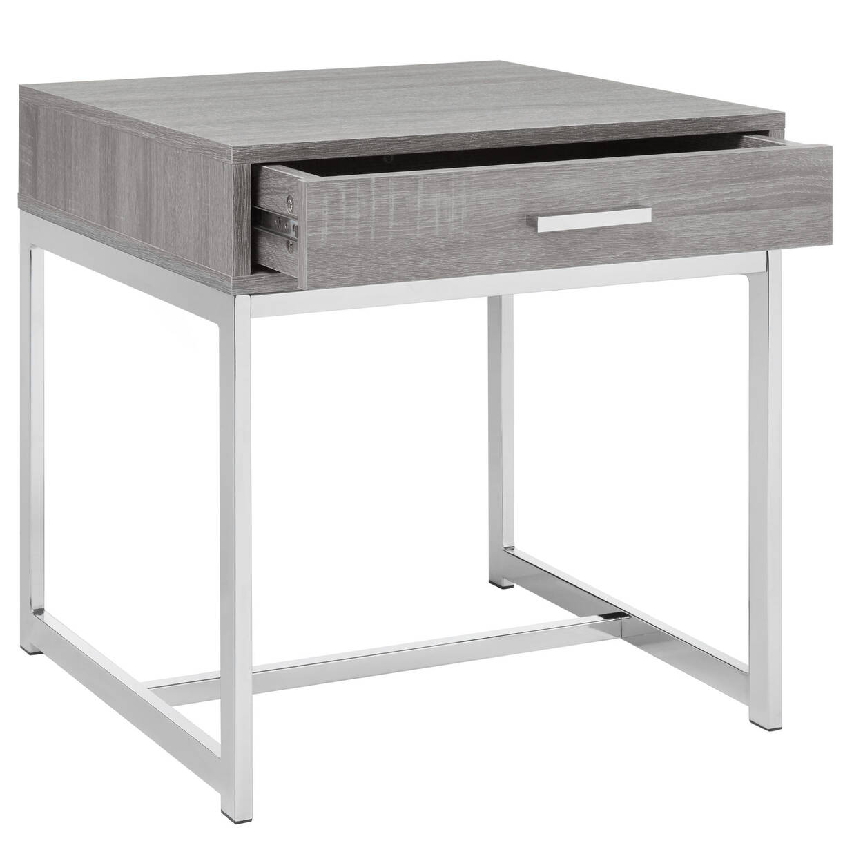 Wood Veneer Chrome Side Table