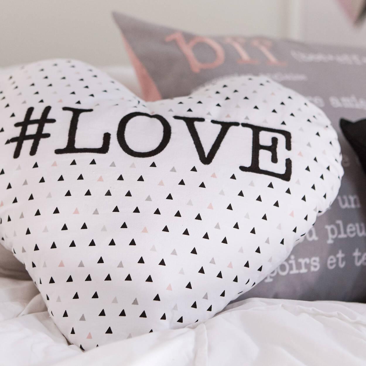 "#Love Heart-Shaped Decorative Pillow 15"" X 16.6"""