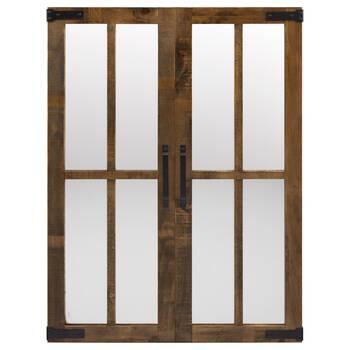 Miroir look porte de grange avec cadre en bois