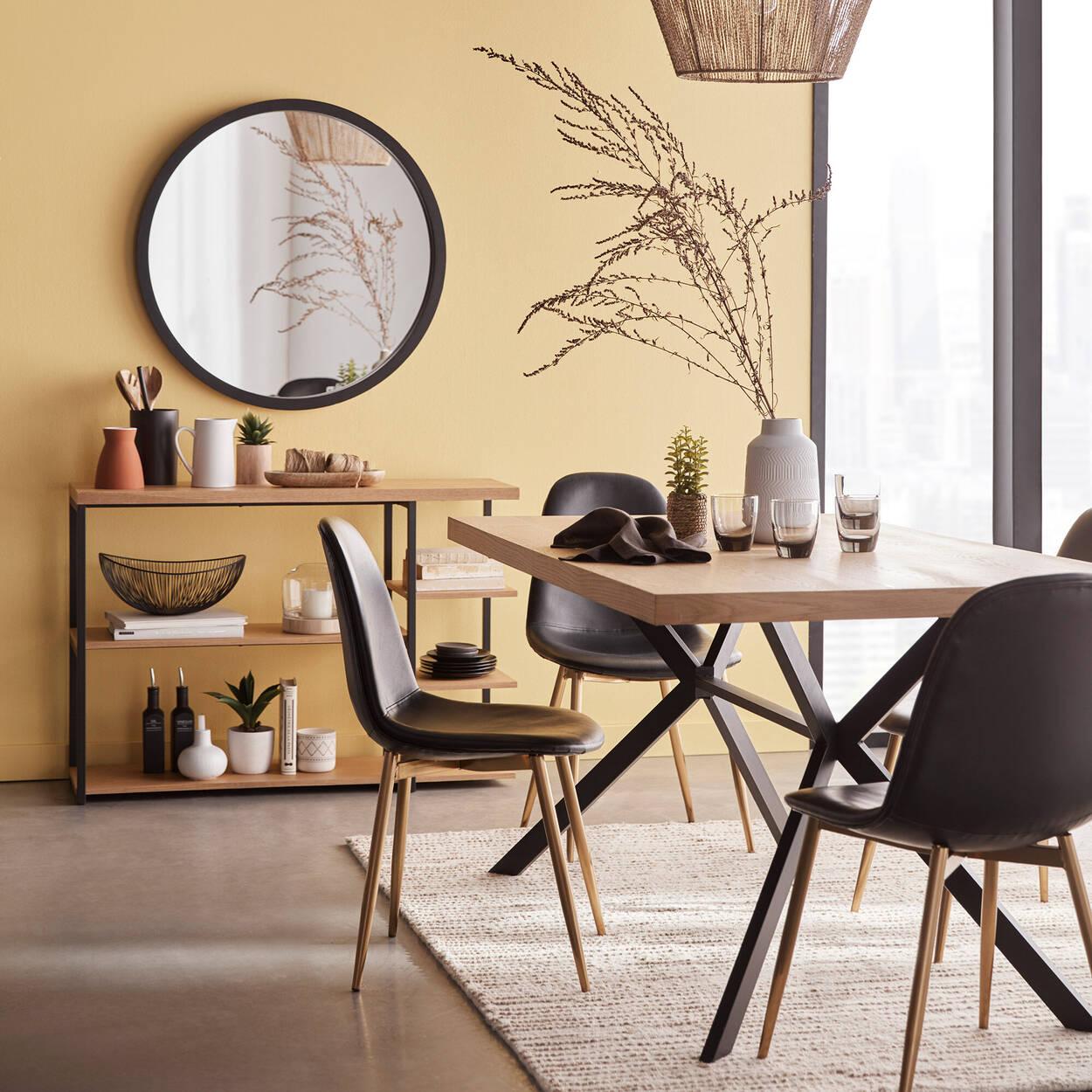 Table de salle à manger en bois et métal