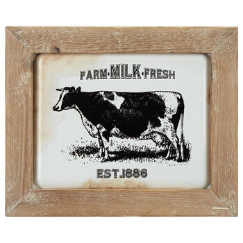 Farm Milk Fresh Metal & Wood Art