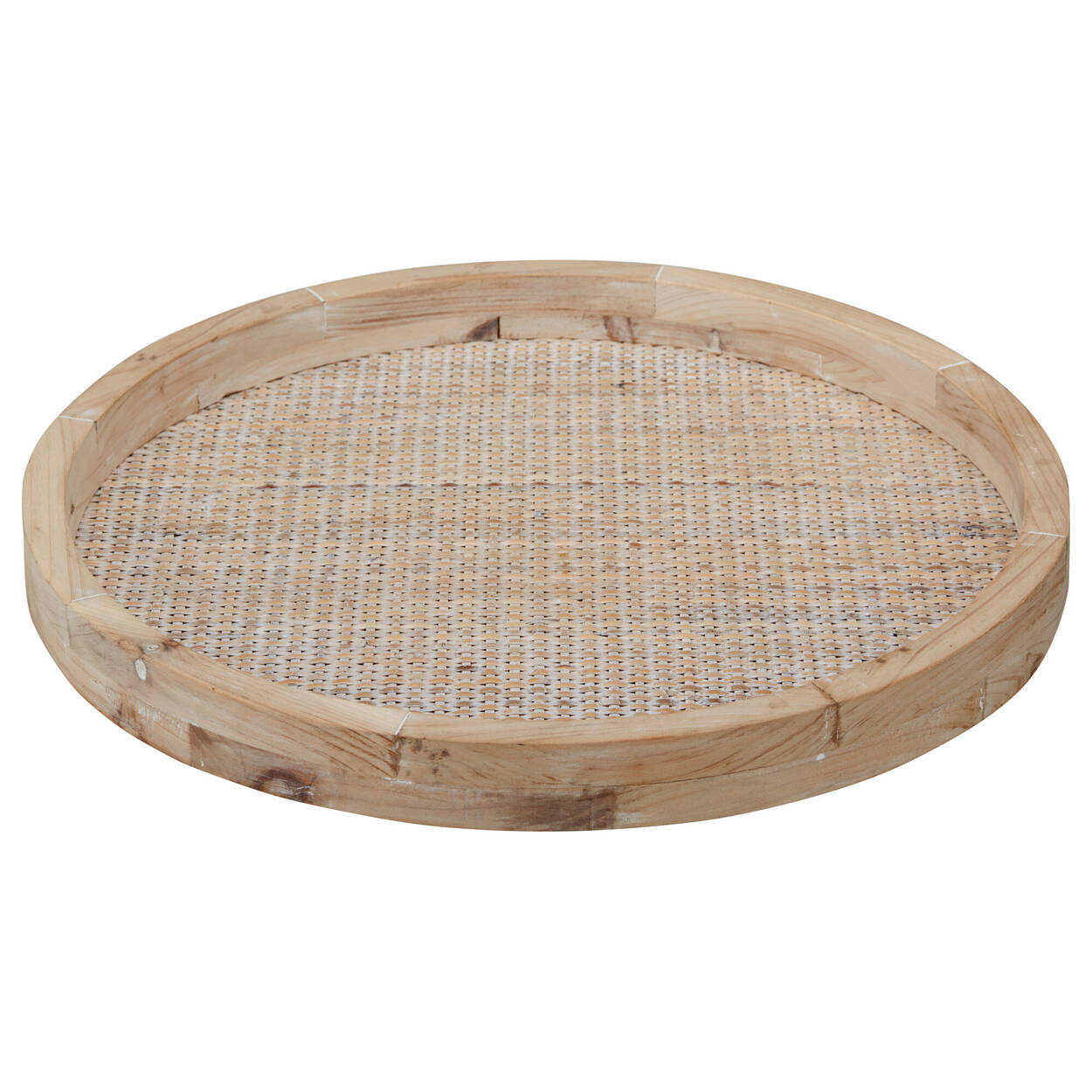 Woven Wood Round Tray
