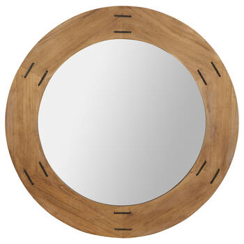 Round Stapled Wood-Framed Mirror