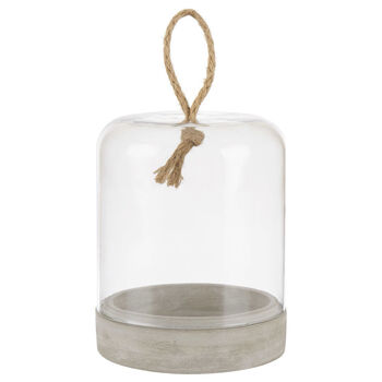 Glass and Cement Bell Candle Holder