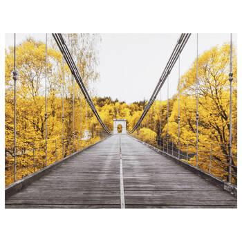 Bridge in Yellow Trees Printed Canvas