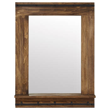 Rustic Wood Mirror with Shelf