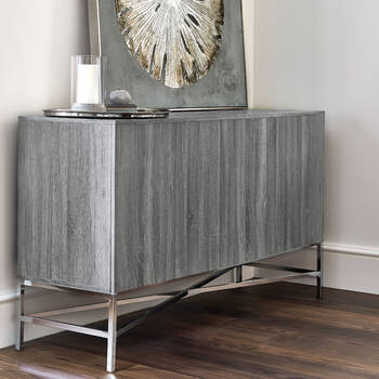 Vinyl Wood Finish and Metal Buffet