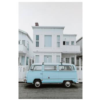 Tableau imprimé caravane bleu poudre