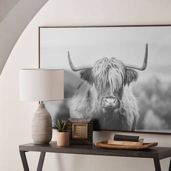 Furry Highland Cow Framed Art