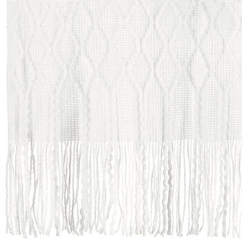"Fancy Patterned Throw with Tassels 50"" X 60"""