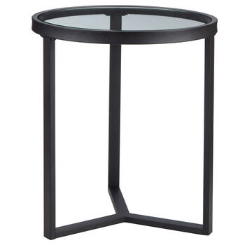 Round Glass and Metal Side Table