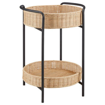 Wicker and Black Metal Side Table