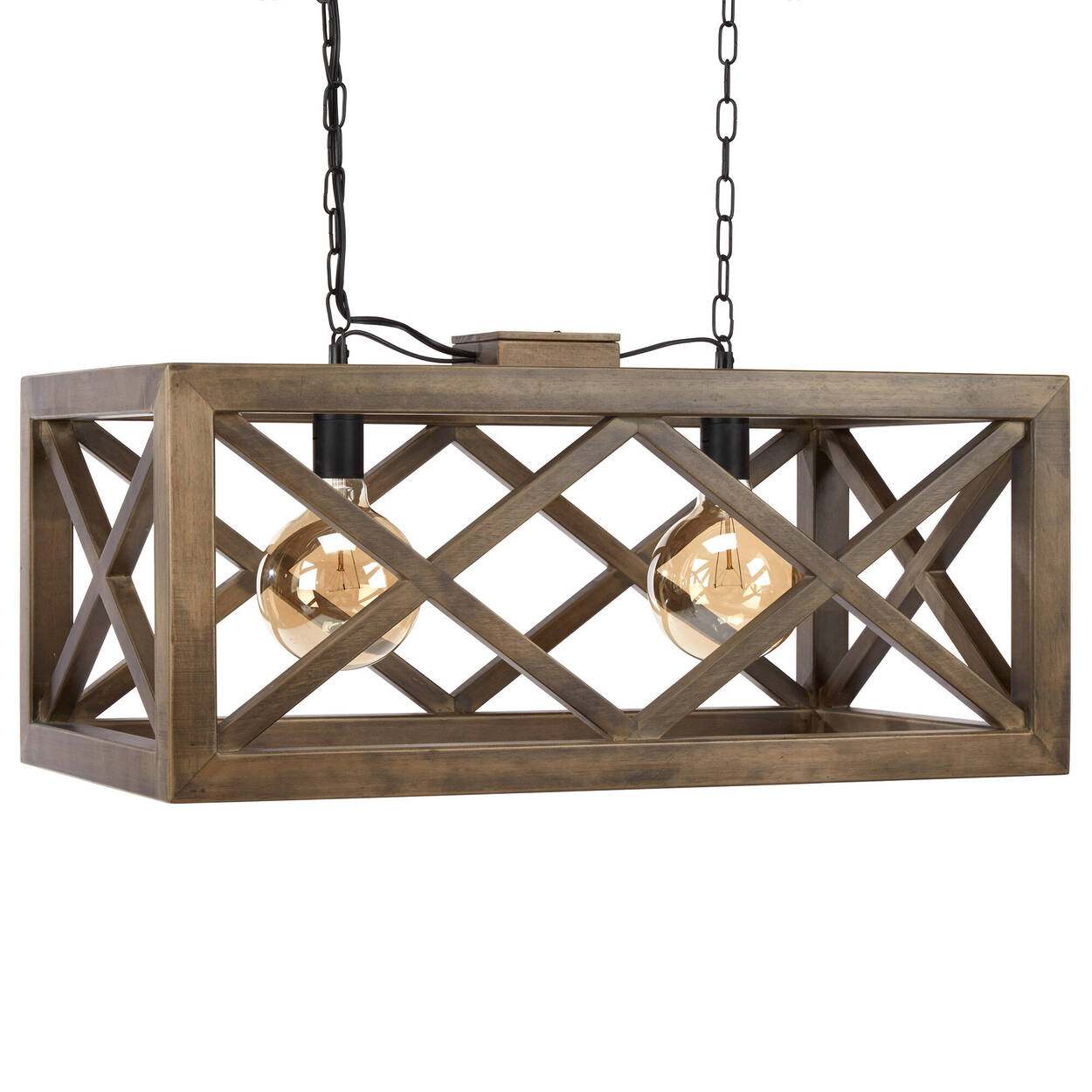 Wooden Rectangular Pendant Ceiling Lamp