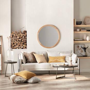 Miroir rond avec cadre en bois de grange