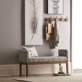 Upholstered Bench with Wood Legs
