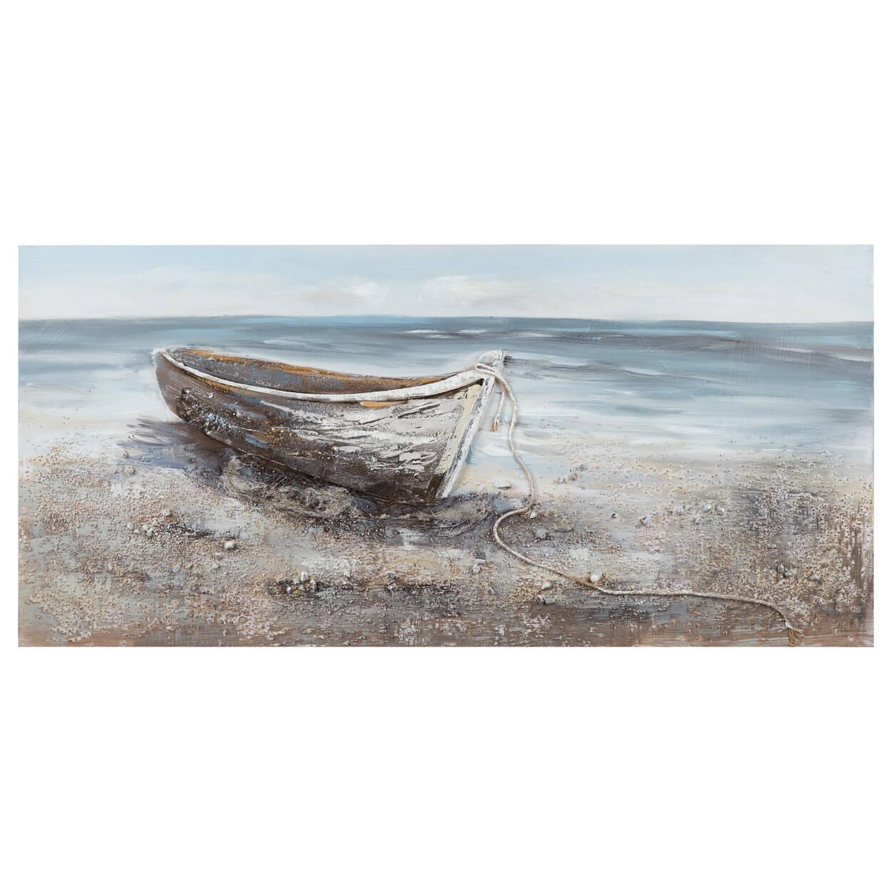 Tableau bateau médias mixtes peint à l'huile