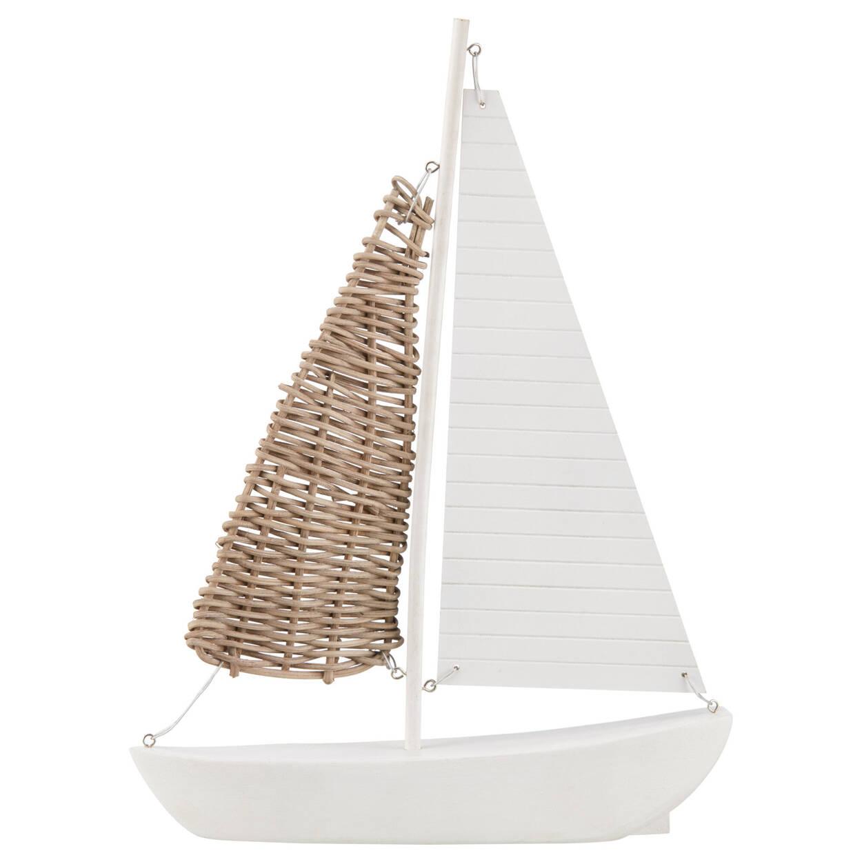 Decorative White Sailboat With Rattan