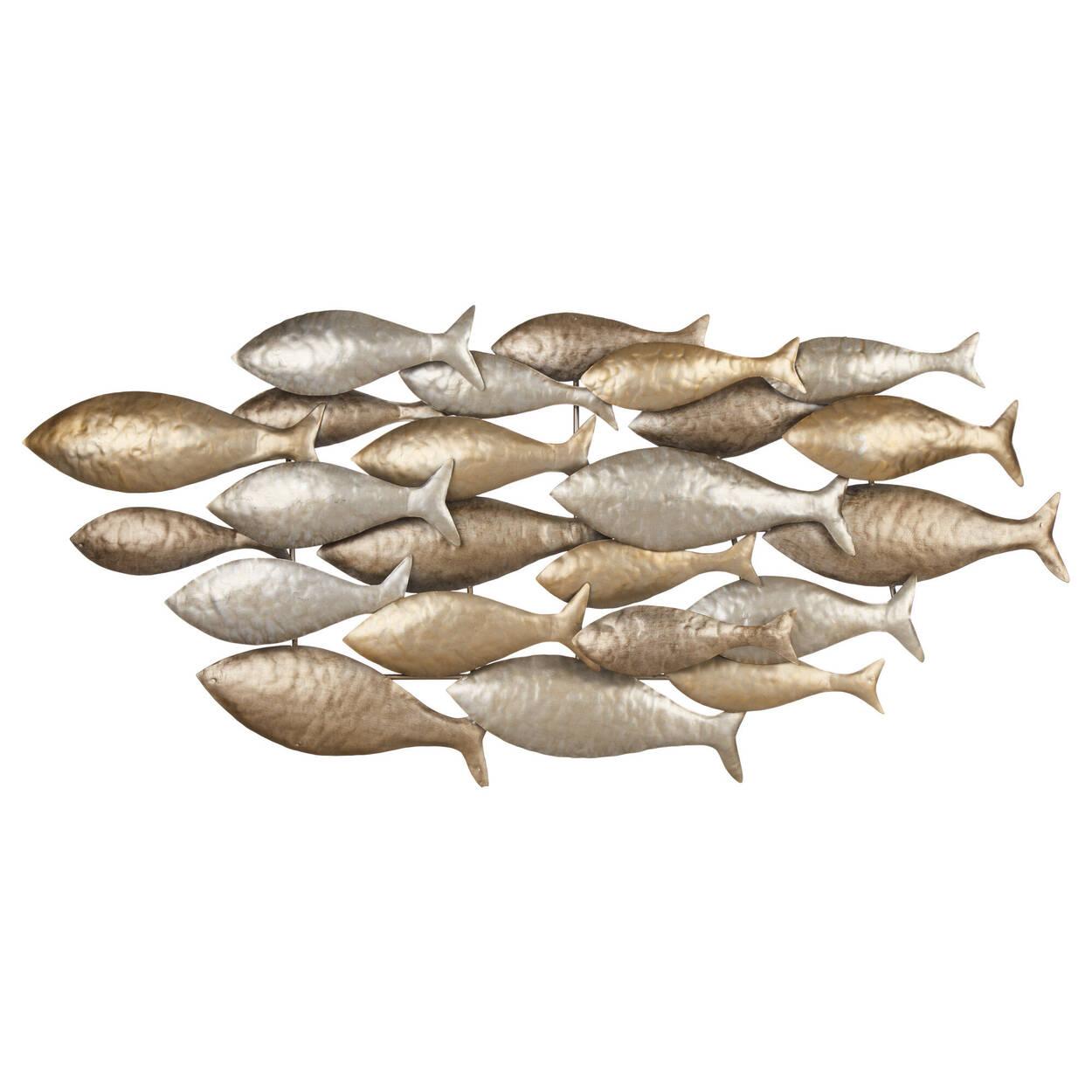 Art mural en métal banc de poissons