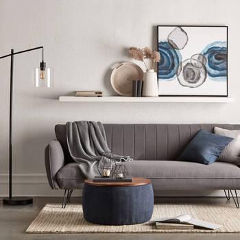 Canapé-lit avec pattes en métal noires
