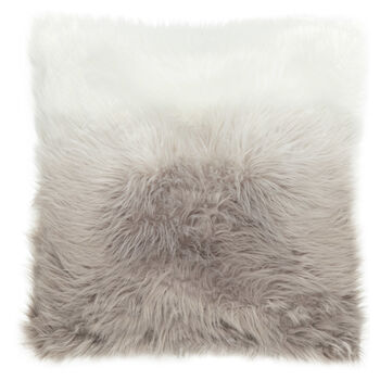 "Ombré Faux Fur Decorative Pillow 17"" X 17"""