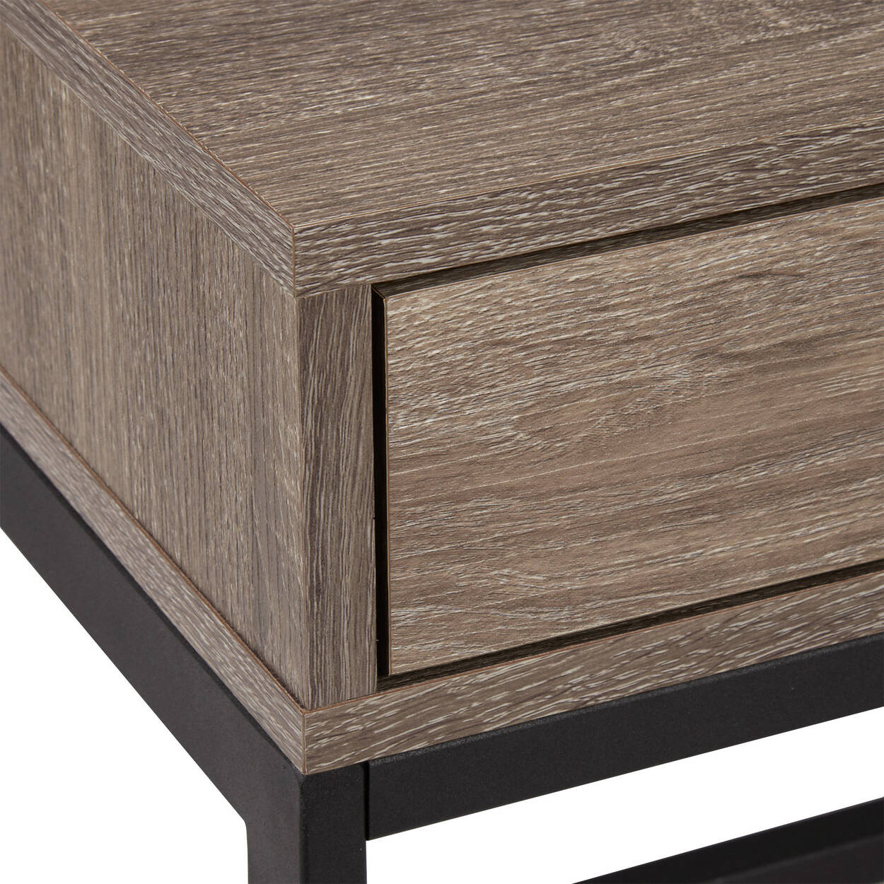 Table d'appoint plaqué et en métal