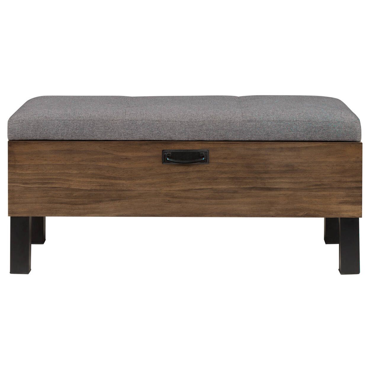 Industrial Wood and Fabric Storage Ottoman