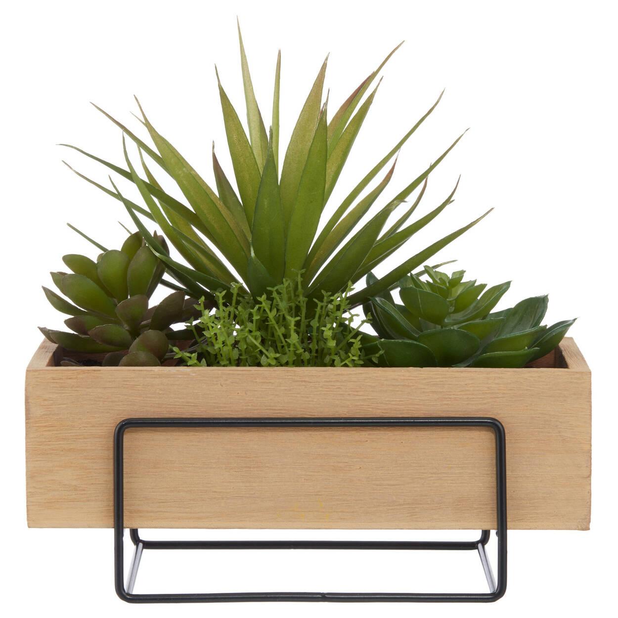 Plantes variées en pot rectangulaire en bois naturel